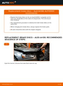 How to carry out replacement: Brake Discs on 2.0 TDI Audi A4 B8 Saloon