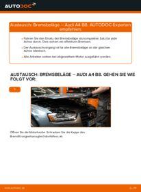 Wie der Wechsel durchführt wird: Bremsbeläge 2.0 TDI Audi A4 B8 Limousine tauschen