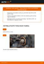 Kaip pakeisti Opel Meriva X03 rato guolio: priekis - keitimo instrukcija