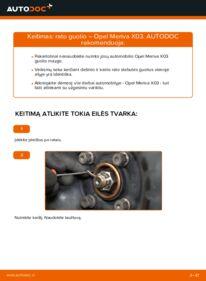 Kaip atlikti keitimą: 1.7 CDTI (E75) Opel Meriva x03 Rato guolis