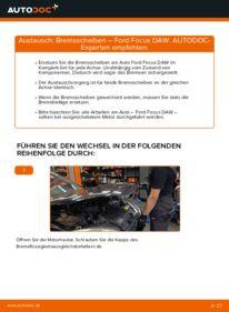 Wie der Wechsel durchführt wird: Bremsscheiben 1.6 16V Ford Focus DAW tauschen