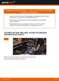 Wie der Wechsel durchführt wird: Bremsbeläge 1.6 16V Ford Focus Mk1 tauschen