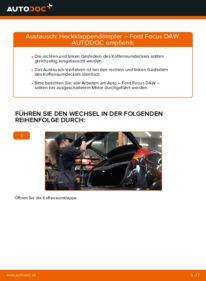Wie der Wechsel durchführt wird: Heckklappendämpfer 1.6 16V Ford Focus Mk1 tauschen