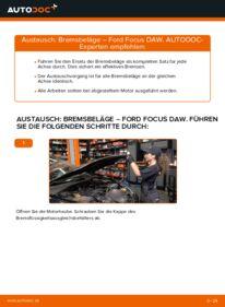 Wie der Wechsel durchführt wird: Bremsbeläge 1.6 16V Ford Focus DAW tauschen