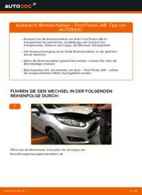 Wie der Wechsel durchführt wird: Bremsscheiben Ford Fiesta ja8 1.25 1.4 TDCi 1.6 TDCi tauschen