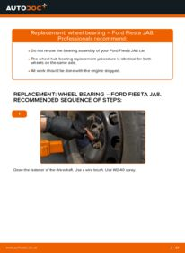 How to carry out replacement: Wheel Bearing on 1.25 Ford Fiesta ja8