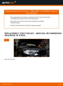 How to carry out replacement: Strut Mount on 120d 2.0 BMW E82