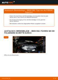 Wie der Wechsel durchführt wird: Bremsbeläge 120d 2.0 BMW E82 tauschen