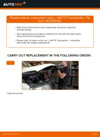 How to carry out replacement: Shock Absorber on 2.5 TDI VW T5 Van