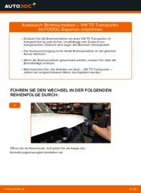 Wie der Wechsel durchführt wird: Bremsscheiben 2.5 TDI VW T5 Kasten tauschen