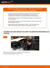 Wie der Wechsel durchführt wird: Bremsscheiben VW T5 Kasten 2.5 TDI 2.5 TDI 4motion 1.9 TDI tauschen