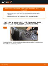 Wie der Wechsel durchführt wird: Spiegelglas 2.5 TDI VW T5 Kasten tauschen