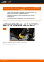 Wie Bremsklötze VW TRANSPORTER auswechseln und einstellen: PDF-Anleitung
