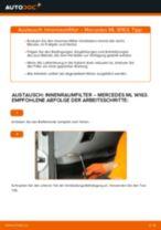 Ersetzen von Filter Innenraumluft MERCEDES-BENZ M-CLASS: PDF kostenlos