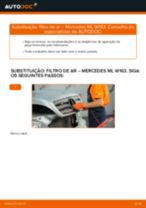 Como mudar e ajustar Filtro de Ar MERCEDES-BENZ M-CLASS: tutorial pdf