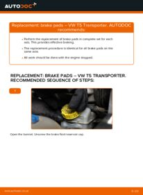How to carry out replacement: Brake Pads on 2.5 TDI VW T5 Van