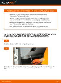 Wie der Wechsel durchführt wird: Innenraumfilter ML 270 CDI 2.7 (163.113) Mercedes W163 tauschen