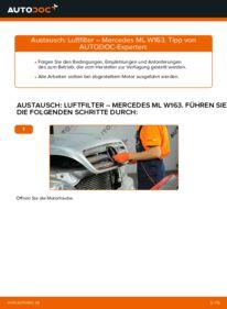 Wie der Wechsel durchführt wird: Luftfilter ML 270 CDI 2.7 (163.113) Mercedes W163 tauschen