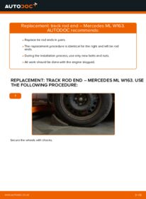 How to carry out replacement: Track Rod End on ML 270 CDI 2.7 (163.113) ML W163