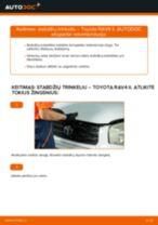 Kaip pakeisti Toyota RAV4 II stabdžių trinkeliu: priekis - keitimo instrukcija
