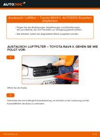 Wie der Wechsel durchführt wird: Luftfilter Toyota Rav4 II 2.0 D 4WD (CLA20_, CLA21_) 2.0 4WD (ACA21, ACA20) 1.8 (ZCA25_, ZCA26_) tauschen