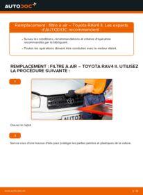 Comment effectuer un remplacement de Filtre à Air sur 2.0 D 4WD (CLA20_, CLA21_) Toyota RAV4 II