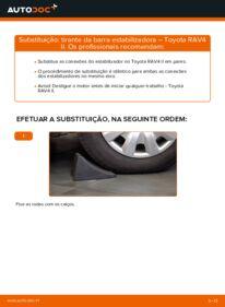 Como realizar a substituição de Tirante da Barra Estabilizadora no 2.0 D 4WD (CLA20_, CLA21_) Toyota Rav4 II