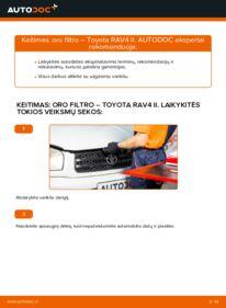 Kaip atlikti keitimą: 2.0 D 4WD (CLA20_, CLA21_) Toyota Rav4 II Oro filtras
