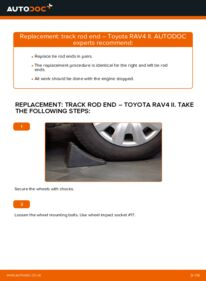 How to carry out replacement: Track Rod End on 2.0 D 4WD (CLA20_, CLA21_) Toyota Rav4 II