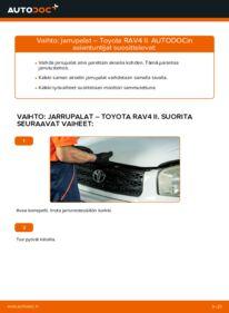 Kuinka vaihtaa Jarrupalat 2.0 D 4WD (CLA20_, CLA21_) Toyota Rav4 II -autoon