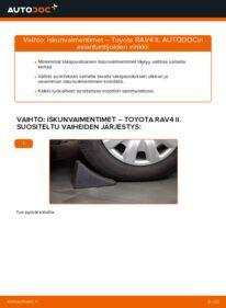 Kuinka vaihtaa Iskunvaimentimet 2.0 D 4WD (CLA20_, CLA21_) Toyota Rav4 II -autoon