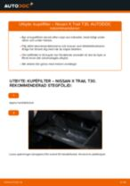 Byta kupéfilter på Nissan X Trail T30 – utbytesguide