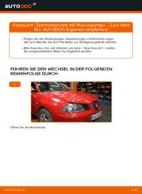 Wie der Wechsel durchführt wird: Wasserpumpe + Zahnriemensatz Seat Ibiza 6l1 1.9 TDI 1.4 16V 1.2 tauschen