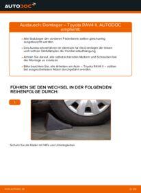 Wie der Wechsel durchführt wird: Domlager 2.0 D 4WD (CLA20_, CLA21_) Toyota Rav4 II tauschen
