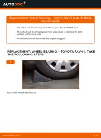 How to carry out replacement: Wheel Bearing on 2.0 D 4WD (CLA20_, CLA21_) Toyota Rav4 II
