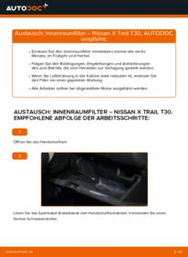 Wie der Wechsel durchführt wird: Innenraumfilter Nissan X Trail t30 2.2 dCi 4x4 2.2 Di 4x4 2.5 4x4 tauschen