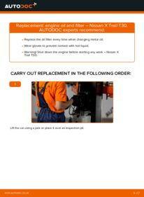 How to carry out replacement: Oil Filter on 2.2 dCi 4x4 Nissan X Trail t30
