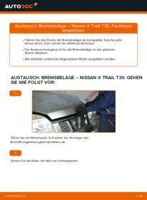 Wie der Wechsel durchführt wird: Bremsbeläge 2.2 dCi 4x4 Nissan X Trail t30 tauschen