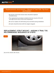 How to carry out replacement: Strut Mount on 2.2 dCi 4x4 Nissan X Trail t30