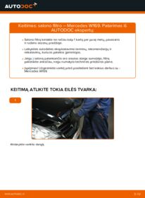 Kaip atlikti keitimą: A 180 CDI 2.0 (169.007, 169.307) Mercedes W169 Oro filtras, keleivio vieta