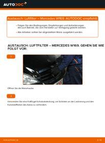 Wie der Wechsel durchführt wird: Luftfilter A 180 CDI 2.0 (169.007, 169.307) Mercedes W169 tauschen