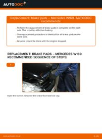 How to carry out replacement: Brake Pads on A 180 CDI 2.0 (169.007, 169.307) Mercedes W169