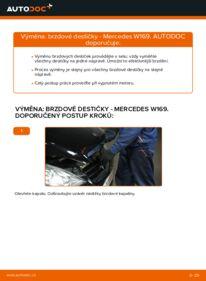 Jak provést výměnu: Brzdové Destičky na A 180 CDI 2.0 (169.007, 169.307) Mercedes W169