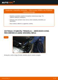 Kaip atlikti keitimą: A 180 CDI 2.0 (169.007, 169.307) Mercedes W169 Stabdžių Kaladėlės