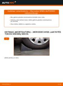 Kaip atlikti keitimą: A 180 CDI 2.0 (169.007, 169.307) Mercedes W169 Amortizatorius