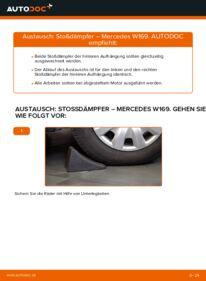 Wie der Wechsel durchführt wird: Stoßdämpfer A 180 CDI 2.0 (169.007, 169.307) Mercedes W169 tauschen