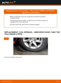 How to carry out replacement: Springs on A 180 CDI 2.0 (169.007, 169.307) Mercedes W169