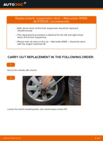 How to carry out replacement: Shock Absorber on A 180 CDI 2.0 (169.007, 169.307) Mercedes W169
