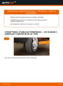 Hvordan man udfører udskiftning af: Stabilisatorbøsning på 1.9 TDI VW Sharan 1