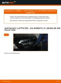 Wie der Wechsel durchführt wird: Luftfilter 2.5 CRDi KIA Sorento jc tauschen